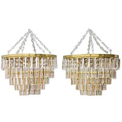 One of Two Crystal Glass Flush Mount Chandelier by Palwa, Germany, 1970s