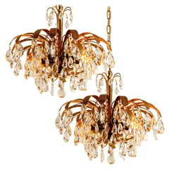 Pair of Crystal Glass Gilt Bras 6-Light Chandeliers by Palwa, 1960s