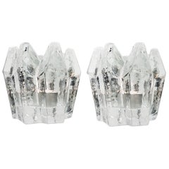 Pair of Crystal Glass Votive Candleholders by Kosta Boda for Orrefors