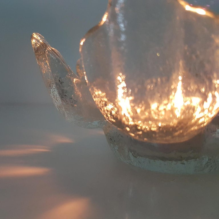 Pair of Crystal Glass Votive Candleholders by Kosta Boda for Orrefors, Sweden 3