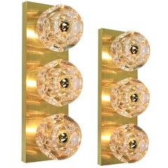 Pair of Crystal Glass Wall Sconces Design by Sciolari for Peill & Putzler
