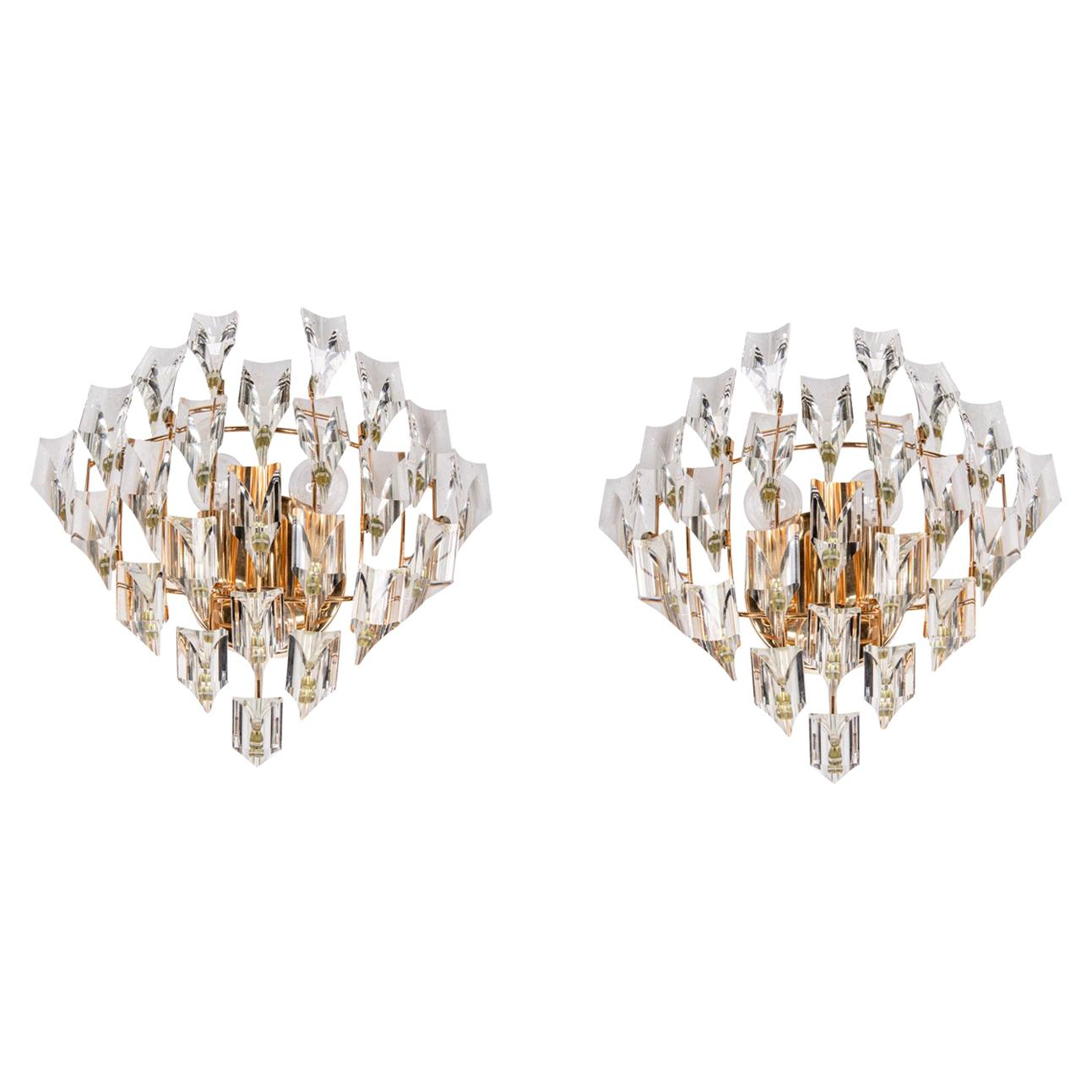 Pair of Crystal & Gold Plated Wall Lights by Oscar Torlasco for Stilkronen 1970s
