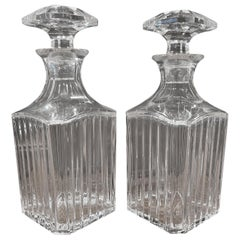 "Pair of Crystal ""Harmonie"" Square Whiskey Decanters by Baccarat"
