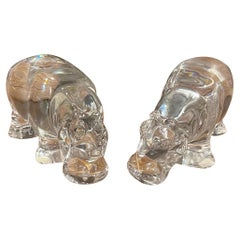 Pair of Crystal Hippos by Baccarat