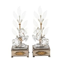 Pair of Crystal Horse Lamps