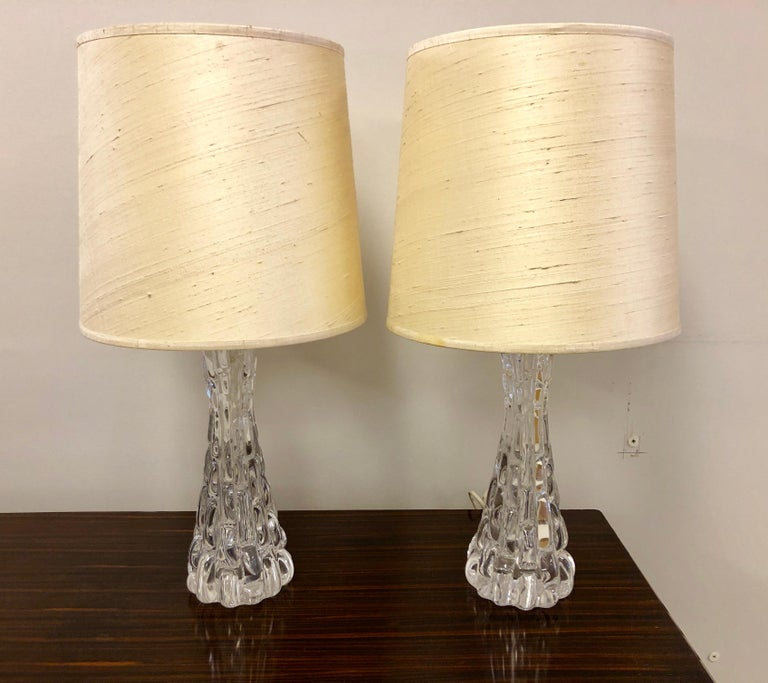 Swedish Pair of Crystal Orrefors Table Lamps by Carl Fagerlund For Sale