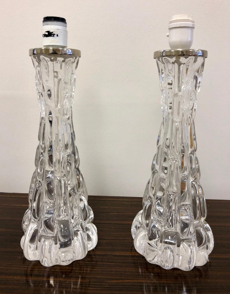 Pair of Crystal Orrefors Table Lamps by Carl Fagerlund In Excellent Condition For Sale In Hudson, NY