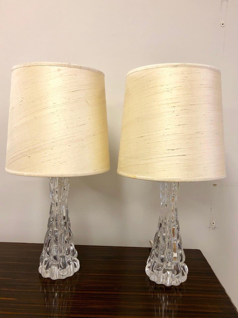 Pair of Crystal Orrefors Table Lamps by Carl Fagerlund For Sale 3