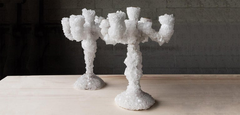 Pair of crystal overgrown candelabras - Mark Sturkenboom Hand sculpted unique design artwork by Mark Sturkenboom Dimensions: 53 x 28 x 28 cm Material: aluminium candleholder, natural grown crystal Detail: crystal can also be in grey /