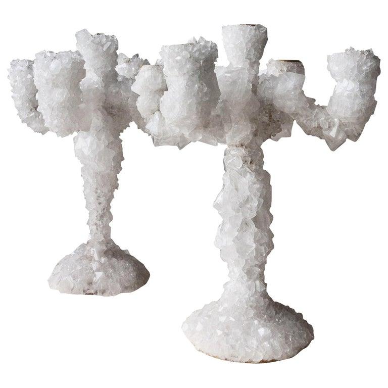 Pair of Crystal Overgrown Candelabras, Mark Sturkenboom For Sale