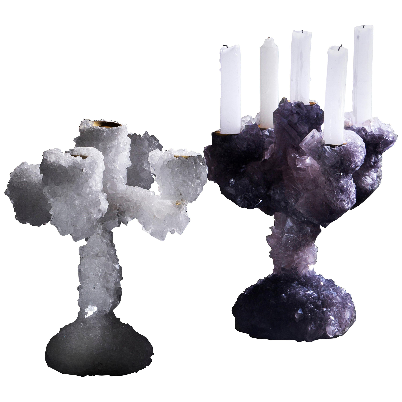 Pair of Crystal Overgrown Candelabras, Mark Sturkenboom