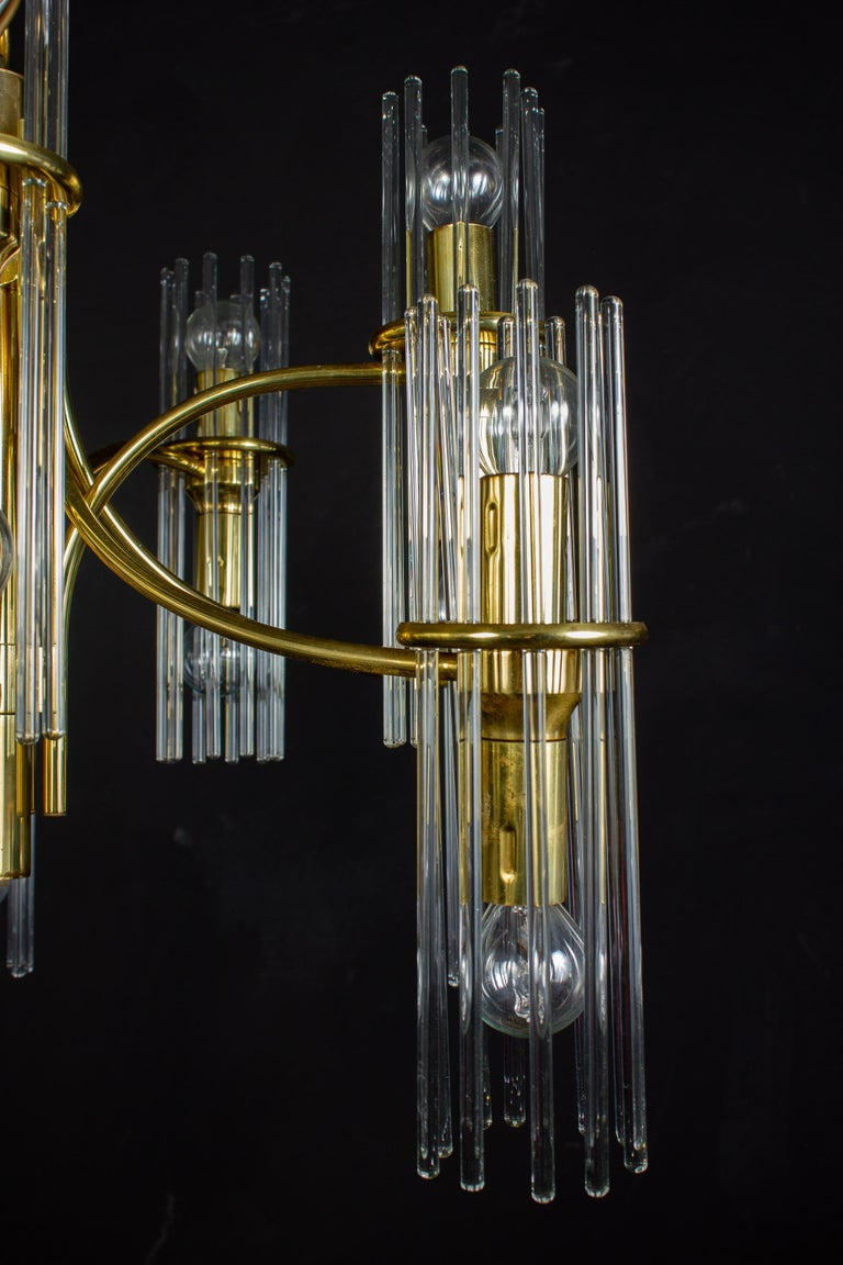 Pair of Crystal Rod and Brass Chandelier or Lantern by Gaetano Sciolari, 1960s For Sale 4