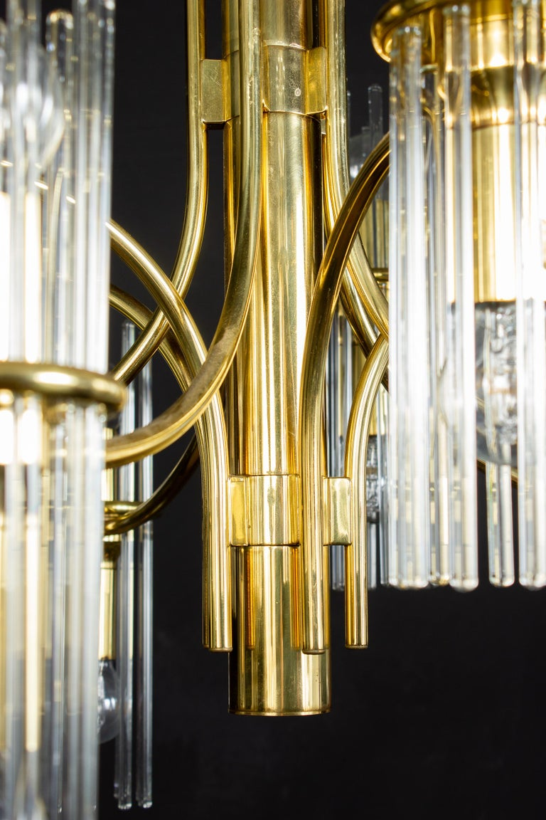 Pair of Crystal Rod and Brass Chandelier or Lantern by Gaetano Sciolari, 1960s For Sale 5