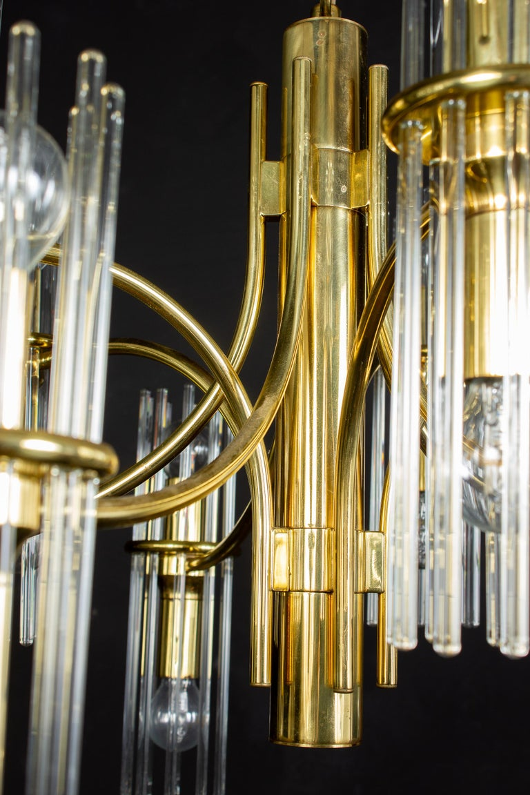 Pair of Crystal Rod and Brass Chandelier or Lantern by Gaetano Sciolari, 1960s For Sale 8