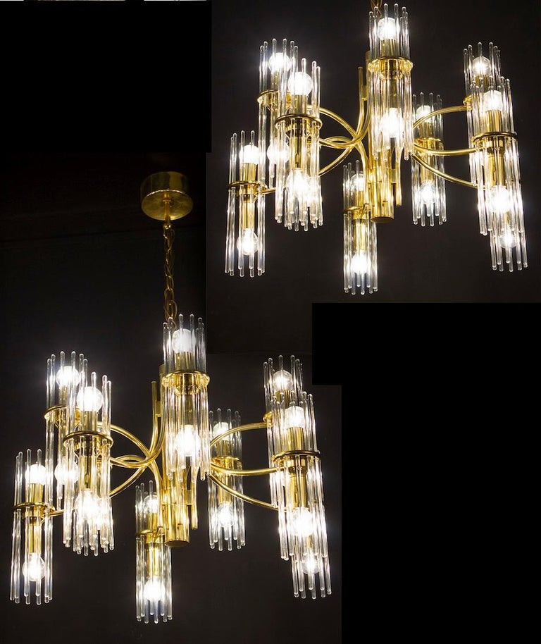 Pair of Crystal Rod and Brass Chandelier or Lantern by Gaetano Sciolari, 1960s For Sale 9