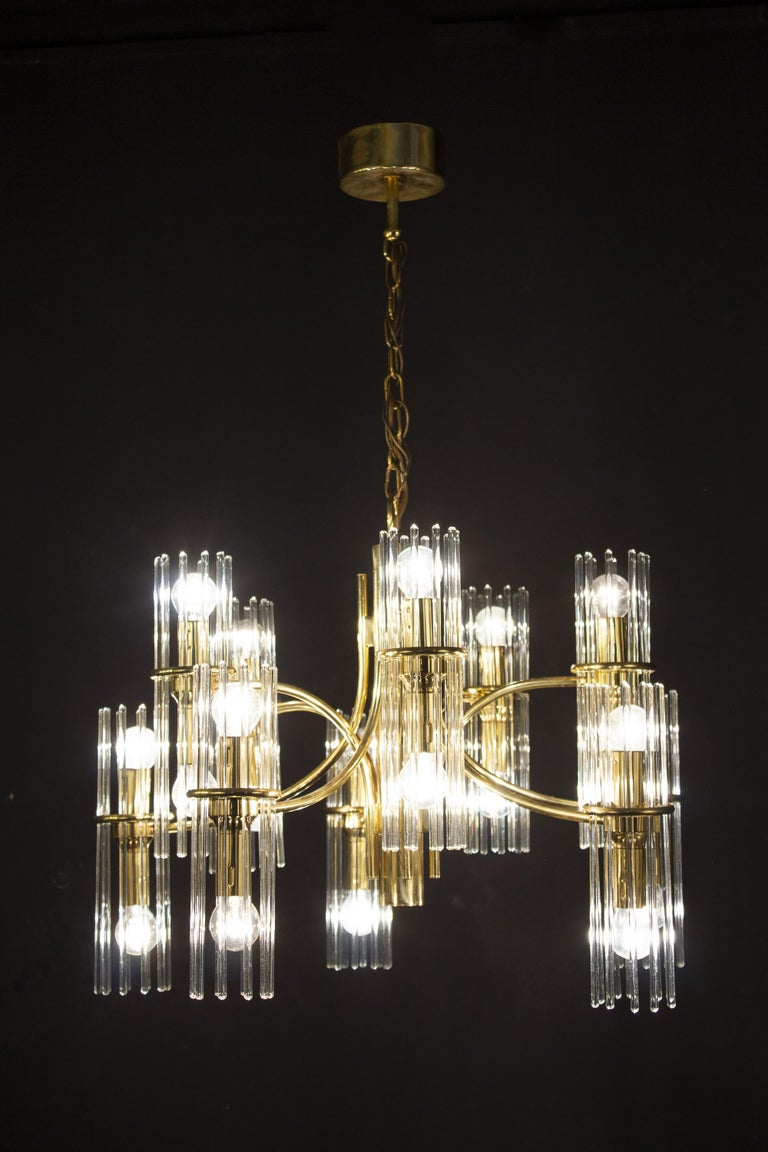Mid-Century Modern Pair of Crystal Rod and Brass Chandelier or Lantern by Gaetano Sciolari, 1960s For Sale