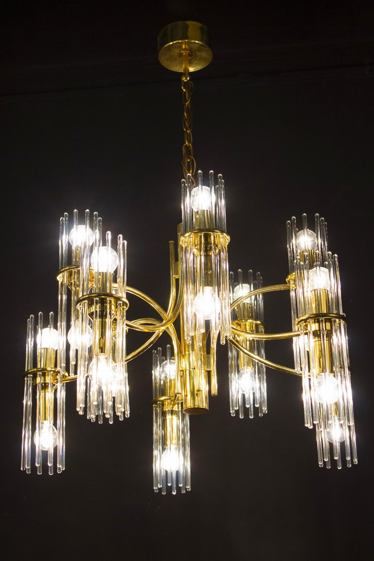 Italian Pair of Crystal Rod and Brass Chandelier or Lantern by Gaetano Sciolari, 1960s For Sale