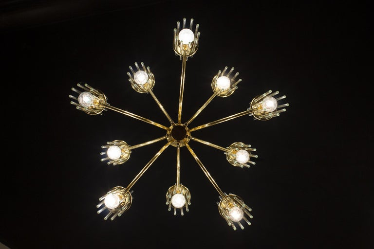 Pair of Crystal Rod and Brass Chandelier or Lantern by Gaetano Sciolari, 1960s In Excellent Condition For Sale In Rome, IT