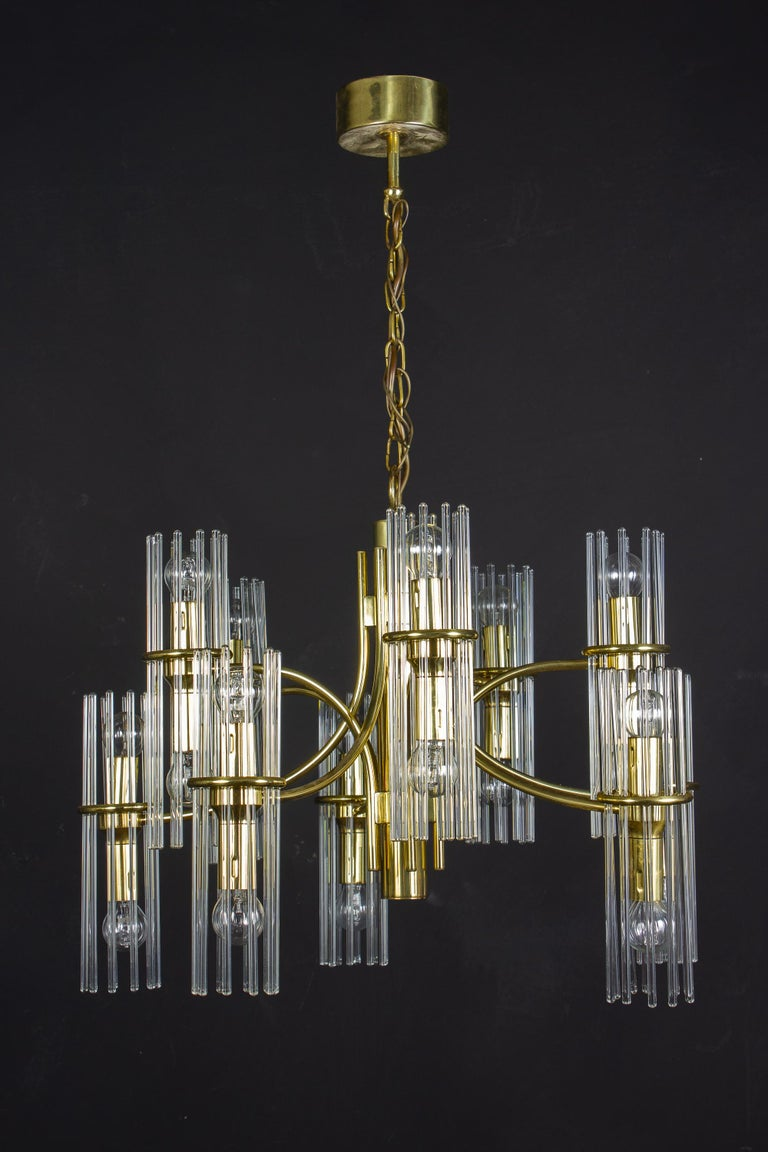 20th Century Pair of Crystal Rod and Brass Chandelier or Lantern by Gaetano Sciolari, 1960s For Sale