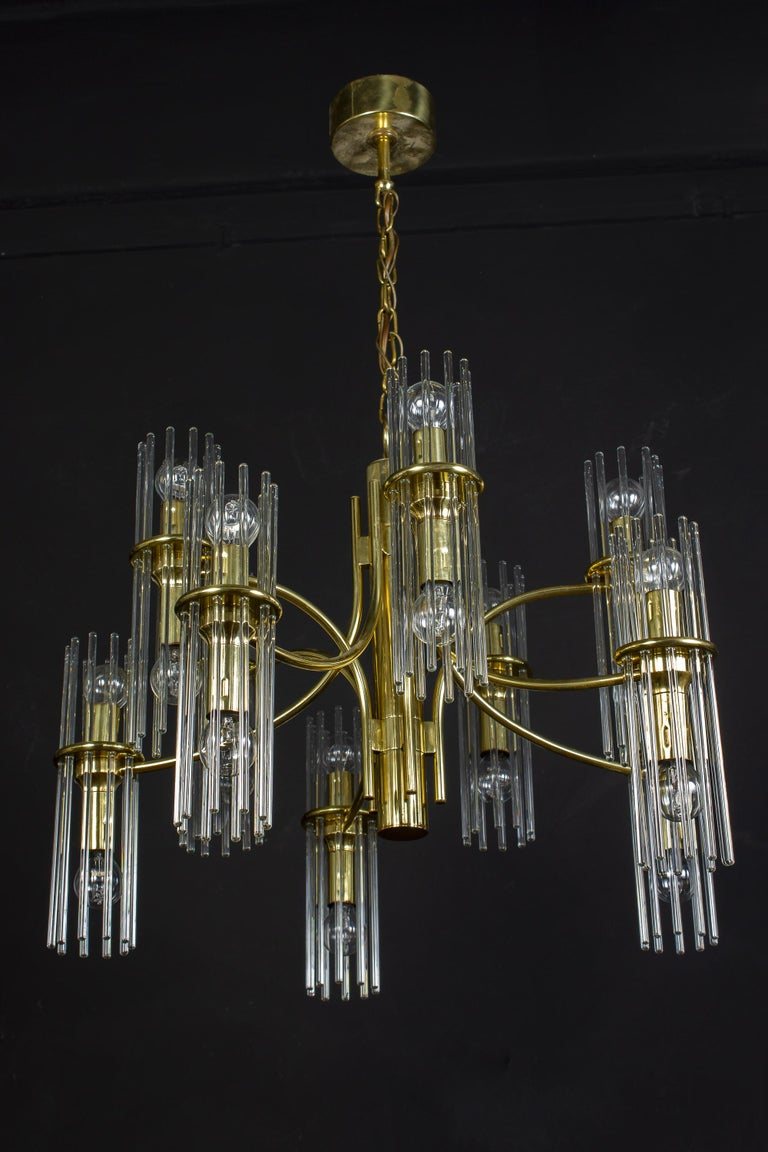 Pair of Crystal Rod and Brass Chandelier or Lantern by Gaetano Sciolari, 1960s For Sale 1