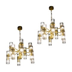 Pair of Crystal Rod and Brass Chandelier or Lantern by Gaetano Sciolari, 1960s