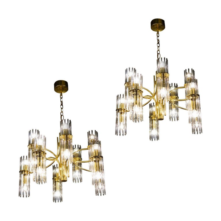 Pair of Crystal Rod and Brass Chandelier or Lantern by Gaetano Sciolari, 1960s For Sale