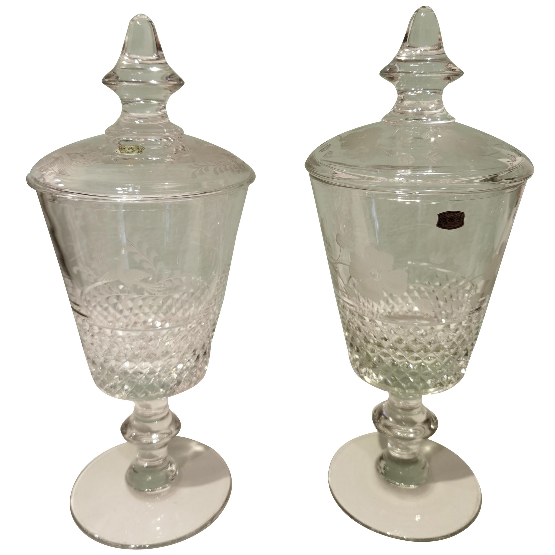 Pair of Crystal Urns Val Saint Lambert Belgium