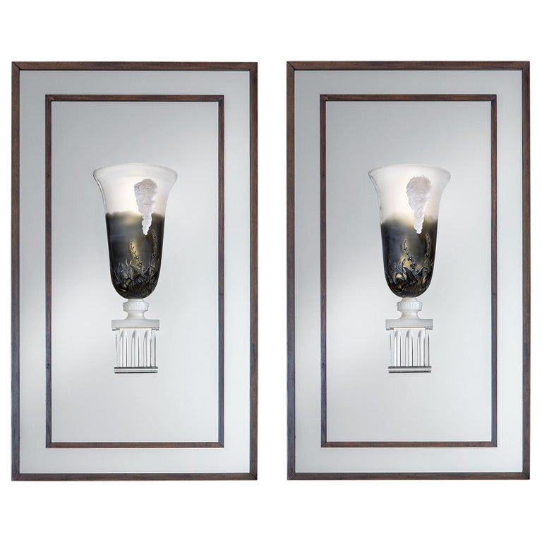 Pair of Crystal Wall Lights For Sale