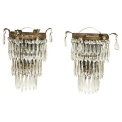 Pair of Crystal Waterfall Wall Lights, circa 1925