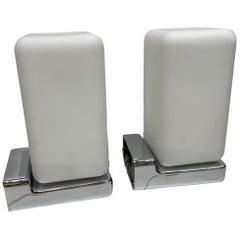 Pair of Cube Bauhaus Style Milk Glass Chrome Base Sconces, 1960s