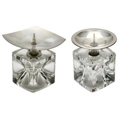 Pair of Cube Candlesticks 'Ice Cubes' in Glass by Peill & Putzler