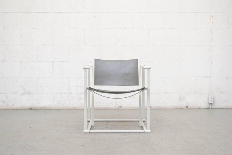 UMS Pastoe FM60, cubic lounge chair, designed in 1980 by Radboud van Beekum. Original white enameled steel cube frame with original grey leather seating. Both frames and seats are in original condition with visible wear. Set price.