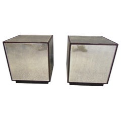 Pair of Cube-Shaped Mirror End Tables