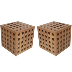 Pair of Cube Tables by Cali Colombian Architect, circa 1960s