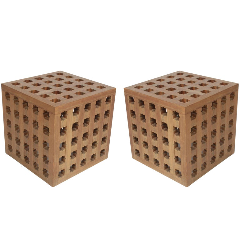 Pair of Cube Tables by Cali Colombian Architect, circa 1960s  For Sale