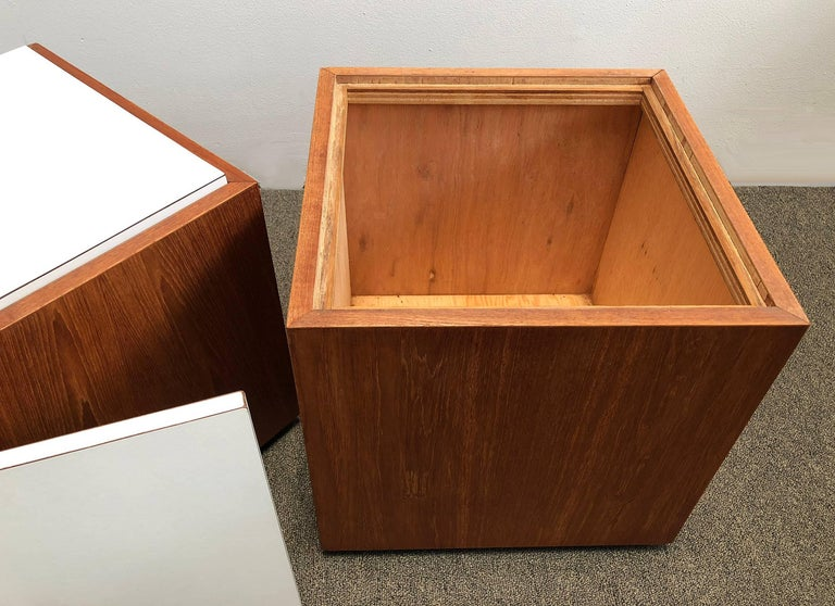 Mid-Century Modern Pair of Cube Tables Teak For Sale