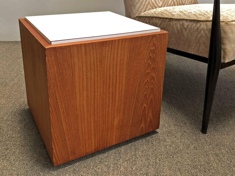 American Pair of Cube Tables Teak For Sale