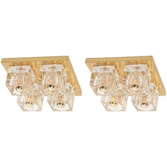 Pair of Cubic Flush Mount by Peill & Putzler, Germany