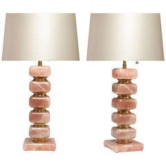 Pair of Cubic Form Pink Rock Crystal Quartz Lamps
