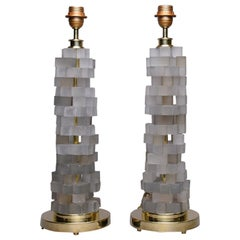 Pair of Cubist Style Murano Glass Lamps