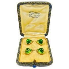 Pair of Cufflinks 18-Karat Gold and Green Cabochon Moldavite