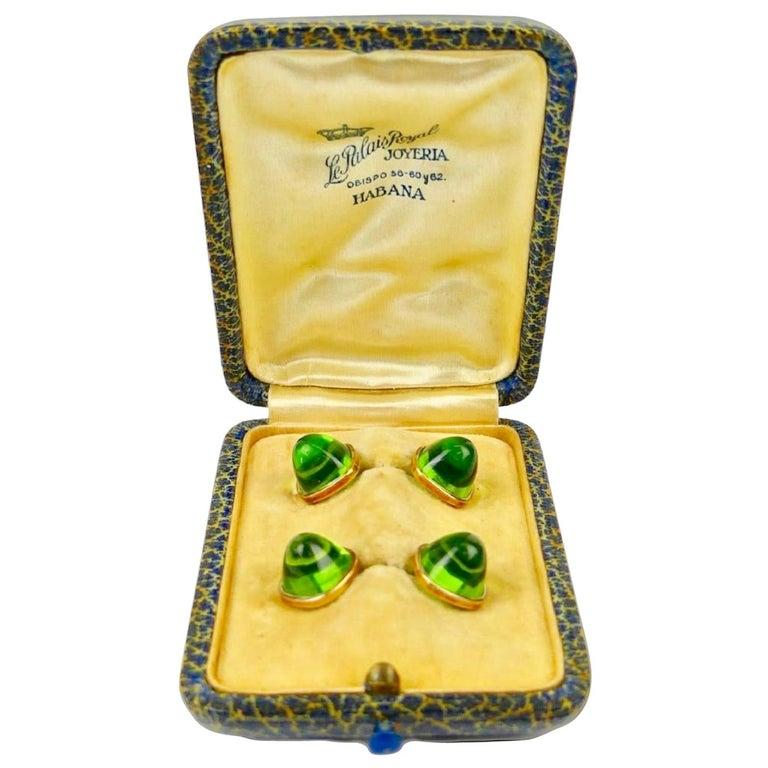 Pair of Cufflinks 18-Karat Gold and Green Cabochon Moldavite For Sale