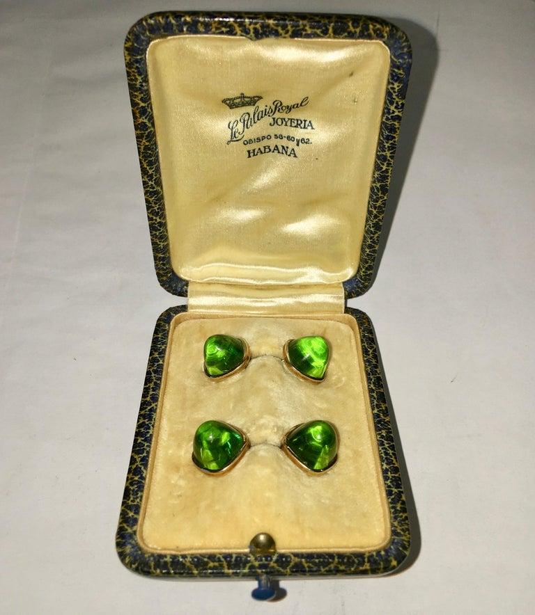 Pair of Cufflinks 18-Karat Gold and Green Cabochon Moldavite For Sale 4