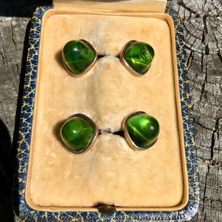 Pair of Cufflinks 18-Karat Gold and Green Cabochon Moldavite For Sale 1