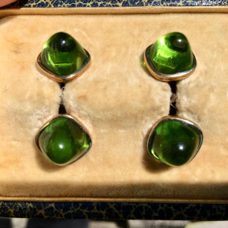 Pair of Cufflinks 18-Karat Gold and Green Cabochon Moldavite For Sale 2
