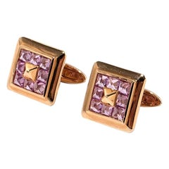 Pair of Cufflinks with Pink Sapphires, 750 Rose Gold