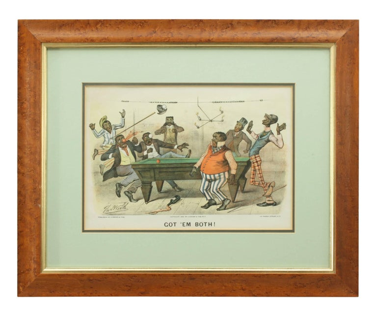 British Pair of Currier & Ives Billiard Prints For Sale