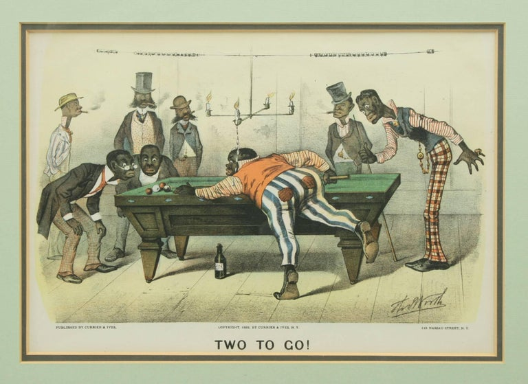 Pair of Currier & Ives Billiard Prints In Good Condition For Sale In Oxfordshire, GB