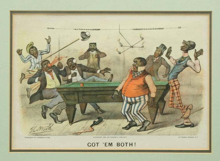 Late 19th Century Pair of Currier & Ives Billiard Prints For Sale
