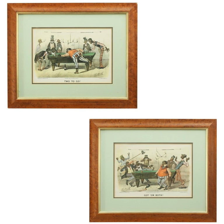 Pair of Currier & Ives Billiard Prints For Sale